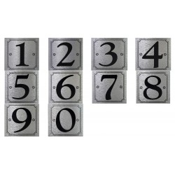 Numerotarra 0-9 hopea/musta