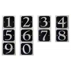 Numerotarra 0-9 musta/hopea